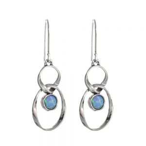 Sterling Silver Aviv Figure Eight Opal Earrings