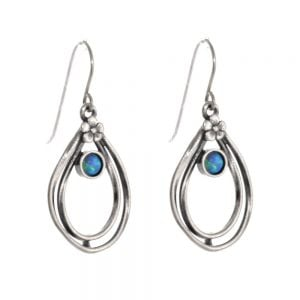 Sterling Silver Aviv Floral Teardrops with Blue Opal