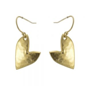 Golden Danon Jewellery: Beautiful Hammered Asymmetric Heart Drops (Small Version)