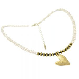 Handmade Danon Jewellery: Gorgeous Gold Asymmetric Hammered Heart on Freshwater Pearl and Black Crystal Necklace (45cm/18