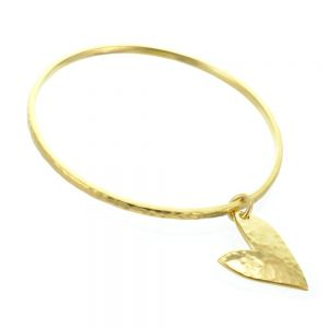 Elegant Danon Jewellery: Golden Bangle with Gorgeous Asymmetric Hammered Heart (66mm Diameter)