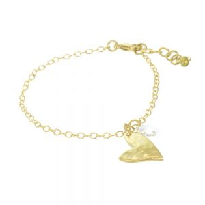 Elegant Danon Jewellery: Gold Delicate Bracelet with Small Hammered Asymmetric Heart and Clear Crystal Charms (19cm)