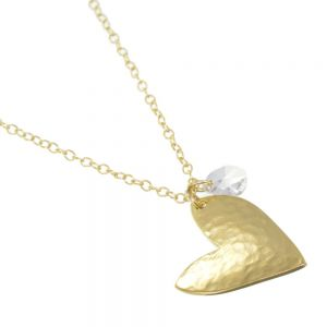 Danon jewellery: Long Gold Danon Necklace With a wonderful asymmetric hammered heart  inspired heart pendant 810 mm
