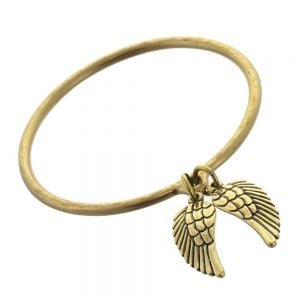 danon double silver and bronze angel wing charm bangle