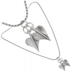 Danon jewellery: 44 cm  double Silver Heart Necklace With two wonderful lily pad heart pendants