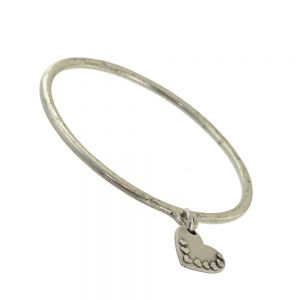 SALE: Pewter Danon Bangle with Loveheart Decorated Heart Charm