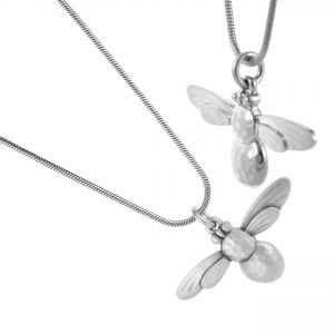 NEW:LARGE DANON JEWELLERY Burnished SILVER BUMBLE BEE LONG NECKLACE