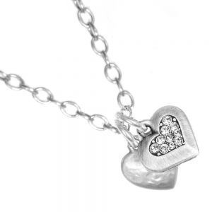 Danon jewellery:  Double chubby  silver and crystal Heart Danon Necklace