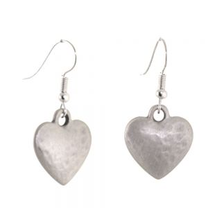 SALE: Pewter Danon Jewellery: Hook Earrings with Chubby Dimpled Silver Heart Charms
