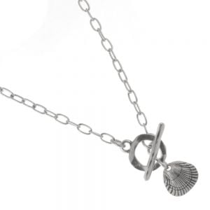Handmade Danon Jewellery: T-Bar Necklace with Lovely Scallop Shell Pendant
