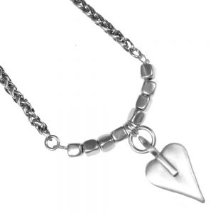Danon jewellery  Pewter Necklace with Heart and Cube Detail