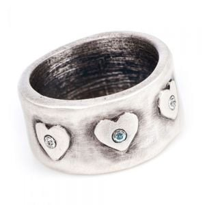 SALE Danon Jewellery: Chunky Pewter Ring with Crystal Dots and Hearts Motif