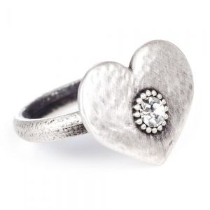 SALE Danon Jewellery:  Statement Pewter Ring with Large Heart with Crystal Dot