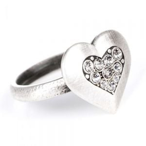 SALE Danon Jewellery: Pewter Ring with Chubby Crystal-Encrusted Loveheart