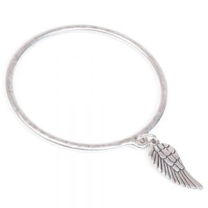 danon silver angel wing charm bangle