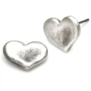 E2526S Hammered Heart Stud Earrings