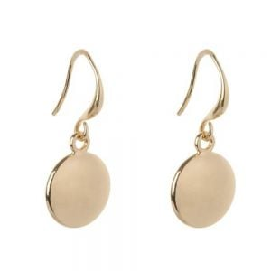 Simple Fashion Jewellery: Shiny Round Gold Tone Earrings (2.5cm Drops) (DX13)b)