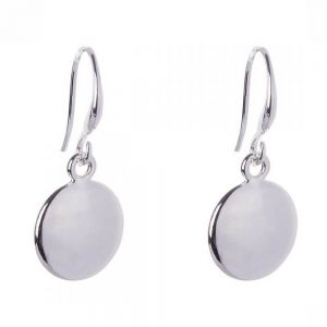 Simple Fashion Jewellery: Shiny Round Silver Tone Earrings (2.5cm Drops) (DX13)A)
