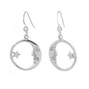 Celestial Sterling Silver Jewellery: Man in the Moon and Star Drop Earrings (18mm) (E282)