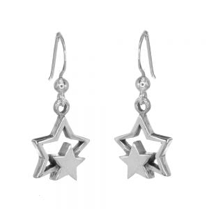 Celestial Sterling Silver Jewellery: Solid and Outline Star Earrings (13mm x 30mm) (E224)