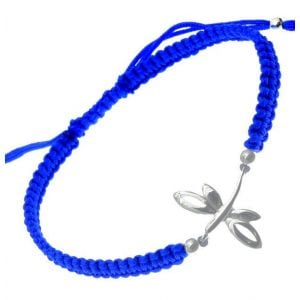 Blue Cord and Sterling Silver Dragonfly Bracelet