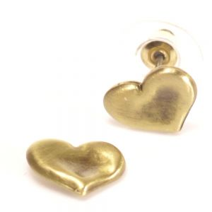 Danon jewellery: Gold  concave Hammered Heart Studs