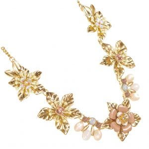 Floral Fairytale Range: Pink and Gold Tone Flower Design Necklace