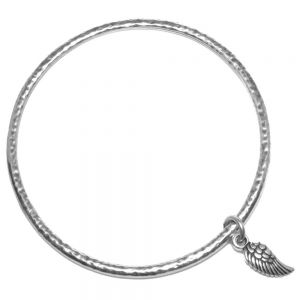 Danon Jewellery: Hammered Bangle with Angel Wing Charm