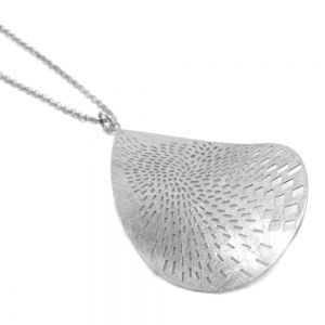 Silver Teardrop Pendant with Scratched Finish