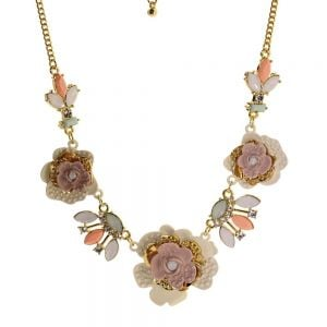 Floral Fairytale Range: Pretty Pink and Coral Flower Design Necklace