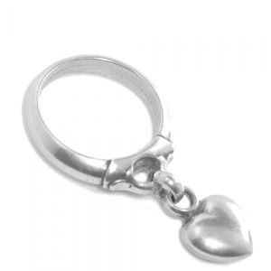 SALE Danon Jewellery: Pewter Ring with Dangly Loveheart Charm