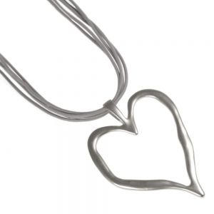 Statement Silver Heart Necklace fashion