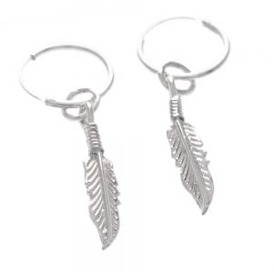 925 Sterling Silver Feather Hoop Earrings UK