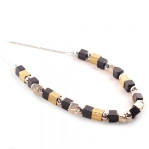 Aviv Sterling Silver: Onyx and Gold Bead Silver Necklace