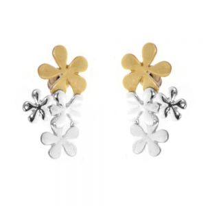 Mixed Metal Range: Gold, Silver and Grey Floral Statement Studs