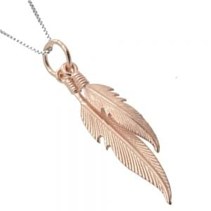 Double Rose Gold-Plated Sterling Silver Feather Pendant