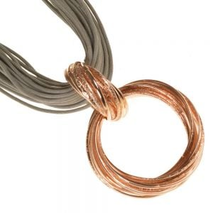 Multi-Cord Grey Necklace with Rose Gold Pendant