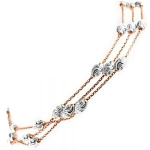 Fabulous Sterling triple layered sterling silver and gold plate bracelet with swirly bead detail (B143)