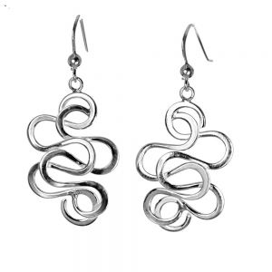 Sterling Silver Abstract Swirl Drops