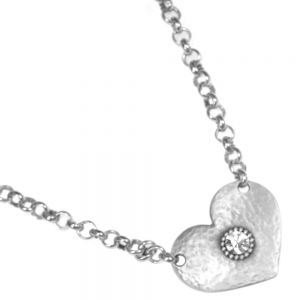 HEART WITH CRYSTAL ON BELCHER CHAIN NECKLACE