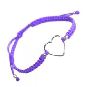 Sterling Silver Jewellery: Purple Cord and Loveheart Design Drawstring Bracelet
