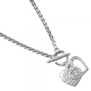 Danon jewellery Double Heart Pewter danon Necklace jewellery