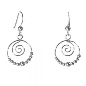 Little Sterling Silver Spiral and Bead Earrings
