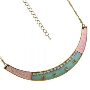 Sale Girly Pink, Turquoise and Antiqued gold collar clearance Necklace (S278A)