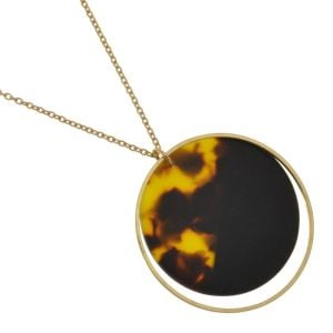 Contemporary Fashion Jewellery: Delicate Gold Chain Necklace with Tortoiseshell Disc Pendant (M599)t)