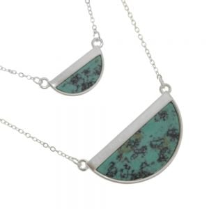 Contemporary Fashion Jewellery: Silver and Turquoise Layered Geometric Pendant (M598)s)