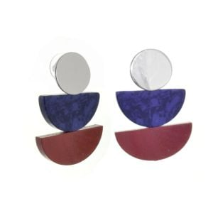 Contemporary Fashion Jewellery: Navy and Dark Red Wooden Geometric Earrings (4.1cm x 2.8cm) (M590)br)
