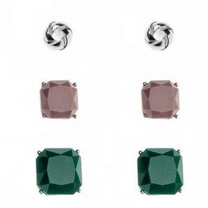 Multi Tone round and two square style fashion jewellery Earring Set
