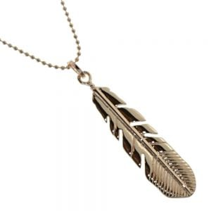 Gorgeous Fashion Jewellery: Bobbly Rose Gold Chain Necklace with Stunning Detailed Feather Pendant