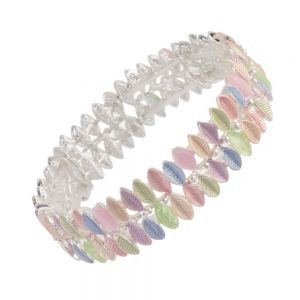 Pretty Statement Fashion Jewellery: Textured Repeated Leaf Motif Bracelet in Pastel Rainbow Shades